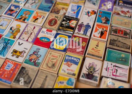 Collectable matchboxes for sale, Paris's amazing antiques market, Marche aux Puces de Saint-Ouen, Paris, France - Stock Photo