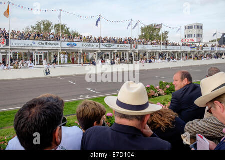 Chichester, West Sussex UK. Sunday 14th September 2014. Goodwood revival, Goodwood motor circuit, showing the crowds - Stock Photo