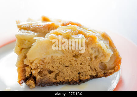 Tarte Tatin with apples. Apple pie. Two slices on a plate. - Stock Photo