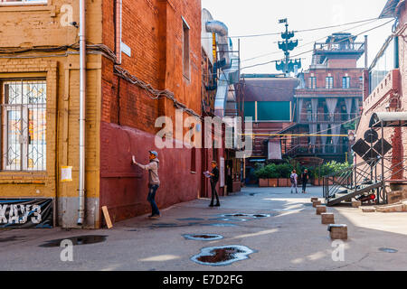 Moscow, Russia. Saturday, Sept. 13, 2014. Street art festival Artside 2014 has just started in Moscow. It was decided - Stock Photo