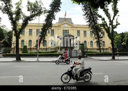 Traffic in downtown Hanoi, Vietnam. - Stock Photo