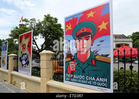Propaganda posters outside of the Vietnam Military History Museum in Hanoi, Vietnam. - Stock Photo