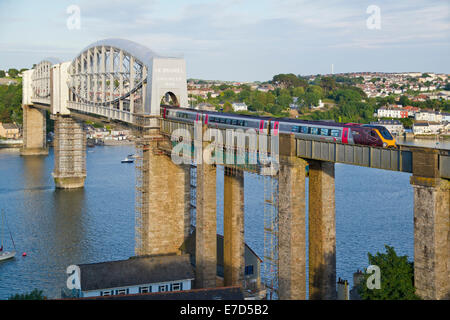 A  XC Voyager working a Cross Country trains service crossing the Royal Albert Bridge at Saltash. - Stock Photo