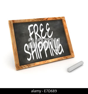 A Colourful 3d Rendered Illustration of a Blackboard Showing Free Shipping - Stock Photo
