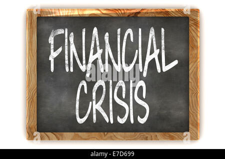 A Colourful 3d Rendered Illustration of a Blackboard Showing Financial Crisis - Stock Photo