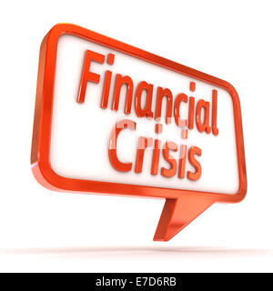 A Colourful 3d Rendered Concept Illustration showing 'Financial Crisis' writen on a Speech bubble - Stock Photo