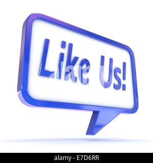 A Colourful 3d Rendered Concept Illustration showing 'Like us' writen in a Speech Bubble - Stock Photo