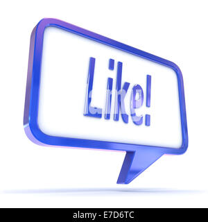 A Colourful 3d Rendered Concept Illustration showing 'Like' in a Speech Bubble - Stock Photo