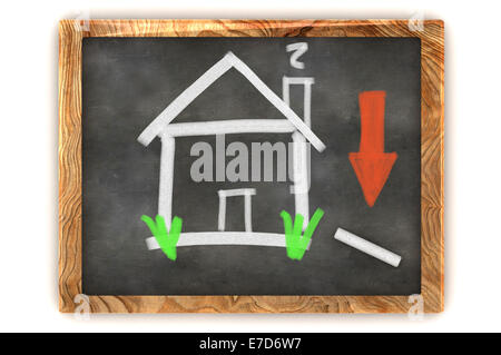 A Colourful 3d Rendered Concept Illustration showing the housing market decline on a Blackboard - Stock Photo
