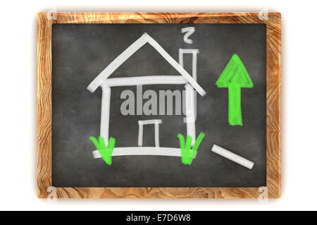 A Colourful 3d Rendered Concept Illustration showing the housing market Rise on a Blackboard - Stock Photo