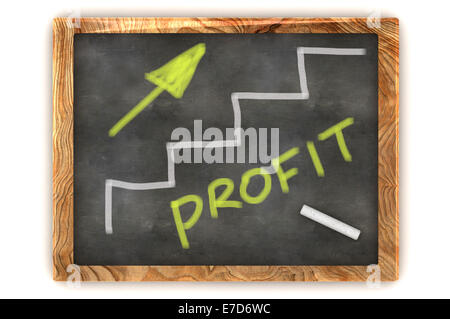 A Colourful 3d Rendered Concept Illustration showing a Profit Graph on a Blackboard - Stock Photo