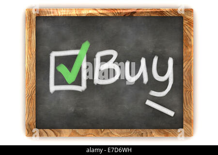 A Colourful 3d Rendered Concept Illustration showing a choice to Buy on a Blackboard - Stock Photo