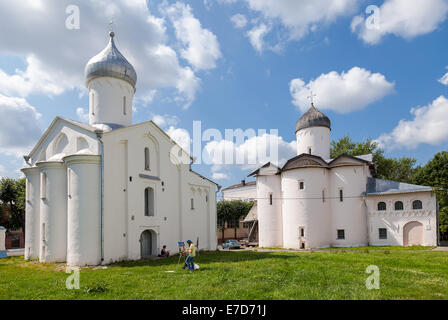 Old russian orthodox churches at the Yaroslav's Court in Veliky Novgorod, Russia - Stock Photo