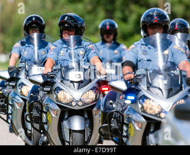 Colorado State Police motorcycles, USA Pro Challenge bike race, Stage 3, central Colorado, USA - Stock Photo