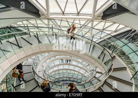London City Hall Interior During Open House Weekend, Southwark, London - Stock Photo