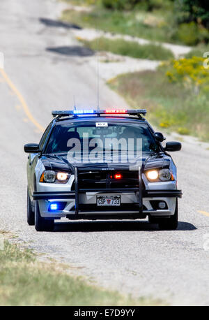 Colorado State Police car, central Colorado, USA - Stock Photo