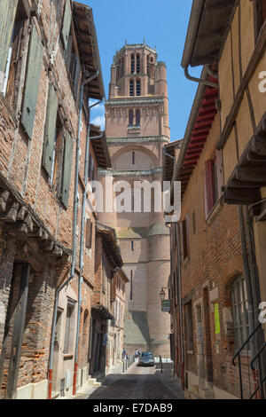 Albi cathedral taken from Rue du Castelviel on a summers day - Stock Photo