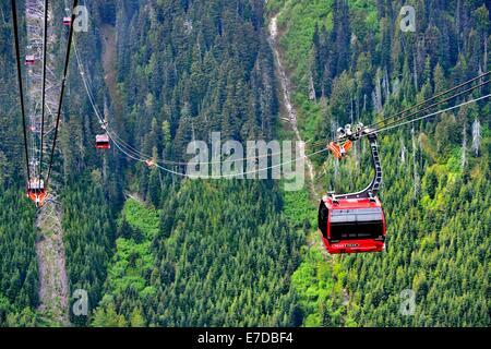 Whistler Peak to Peak Gondola transports skiers and tourists from Whistler peak to Blackcomb peak. - Stock Photo