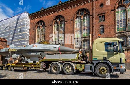 Danish F-16 Fighter Jet on a truck, Copenhagen, Denmark - Stock Photo