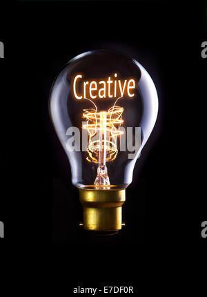 Creative concept in a filament lightbulb. - Stock Photo