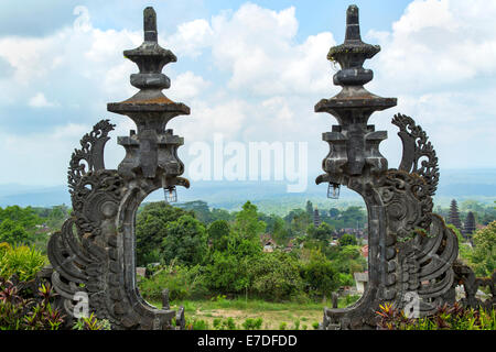 Ancient gate inside Besakih's temple in Bali, Indonesia - Stock Photo