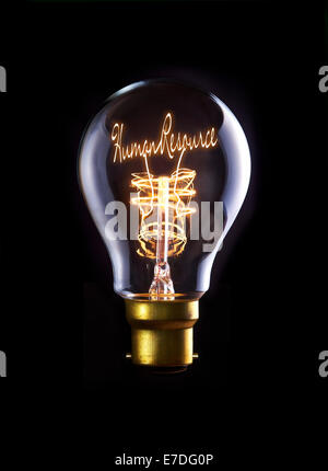 Human Resources concept in a filament lightbulb. - Stock Photo