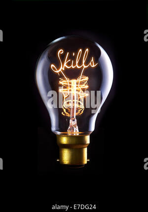 Skills concept in a filament lightbulb. - Stock Photo