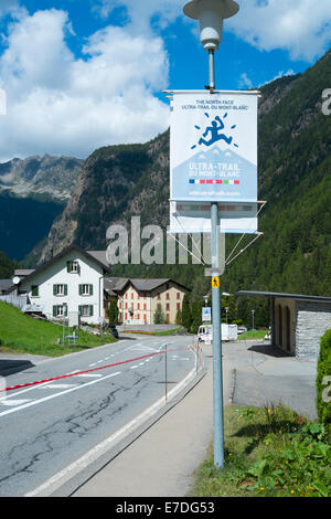 TRIENT, SWITZERLAND - AUGUST 31: Ultra Trail du Mont Blanc banner and Fontanabran mountain in the background. The ultra-marathon