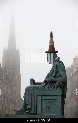 Statue of David Hume by Alexander Stoddart on the Royal Mile in Edinburgh, Scotland, UK - Stock Photo