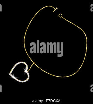 dark background and a jewelry bracelet with pendant-heart - Stock Photo