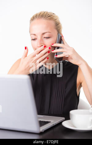Business woman yawning. - Stock Photo