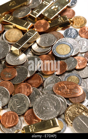 Coins and gold bars