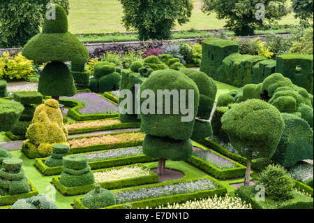 Levens Hall, Cumbria, UK. A late 16c manor house famous for its eccentric topiary garden, owned by the Bagot family - Stock Photo