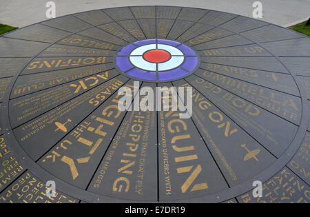 RAF memorial inscription on the ground outside the restored West Malling Airfield control tower/ - Stock Photo