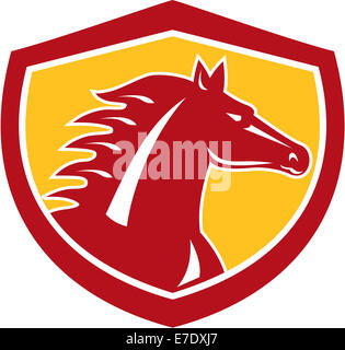 Illustration of a horse head angry looking to side set inside shield crest on isolated background done in retro - Stock Photo