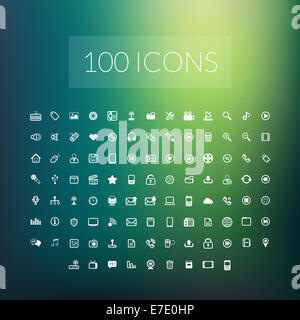 Set of 100 simple universal modern thin line icons - Stock Photo