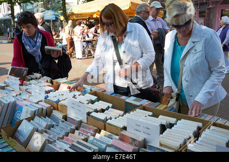 Secondhand books for sales at a flea market, Leichlingen, Germany. - Stock Photo