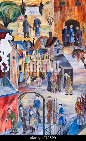 The City Hall (Radhus), Oslo, Norway. A mural showing 19c poverty in Norway, before it gained independence from - Stock Photo