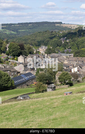 Holmfirth town in West Yorkshire taken from an elevated position on the surrounding hills - Stock Photo