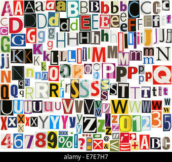 Newspaper, Magazine Alphabet With Letters, Numbers And Symbols ...
