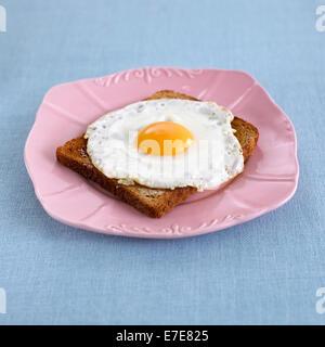 Fried egg on toast - Stock Photo