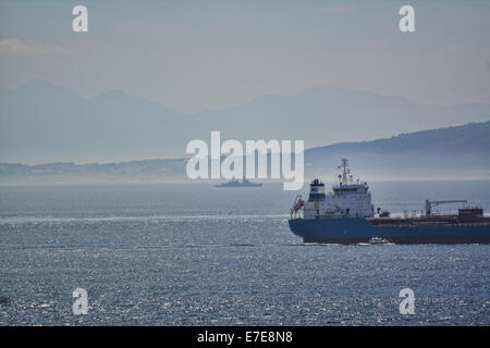 Gibraltar. 15th Sep, 2014. A Spanish naval frigate made an  unauthorised incursion into British Gibraltar Territorial - Stock Photo