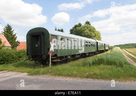 train in dolgen, feldberger seenlandschaft, mecklenburgische seenplatte district, mecklenburg-vorpommern, germany - Stock Photo