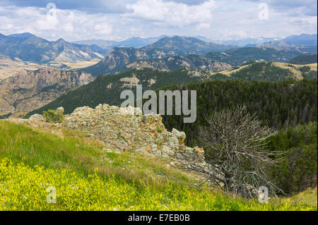 View across the rugged undulating landscape of the Beartooth mountains as shot from the Bear Tooth Pass Highway, - Stock Photo