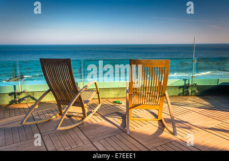Modern balcony overlooking ocean stock photo royalty free for Balcony overlooking ocean