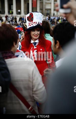 Trafalgar Square, London, UK, 15th September, 2014. Woman dressed up at the rally Credit:  Fantastic Rabbit/Alamy - Stock Photo
