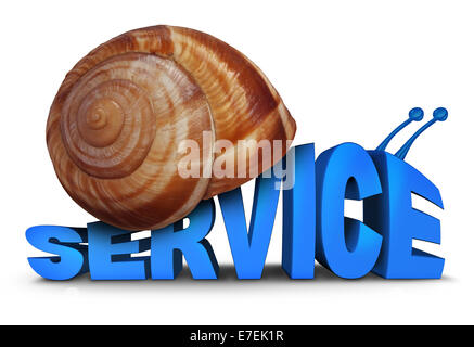Service Problem concept as three dimensional text shaped as a snail with a shell as a symbol for poor slow customer - Stock Photo