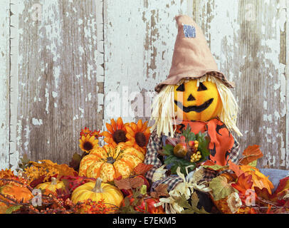 Cute scarecrow surrounded by autumn decorative gourds and flowers against wooden texture background - Stock Photo