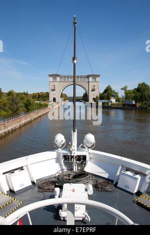Approaching a Canal Lock on the Volga River - Stock Photo