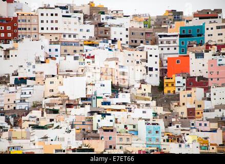 La Palmas de Gran Canaria, Ciudad Alta, 'High City', houses on the steep slopes - Stock Photo